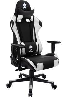 Cadeira Giratória Gamer Evolut Eg-900 Reclinável Preta E Branca