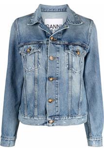 Ganni Jaqueta Jeans Com Efeito Destroyed - Azul