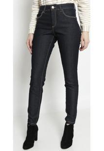 Jeans Skinny Com Pespontos- Azul Escuro- Miss Bellamiss Bella