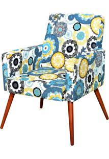 Poltrona Decorativa Para Sala De Estar E Recepção Maria Pés Palito Floral Amarelo - Lyam Decor