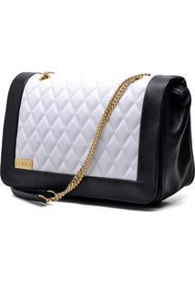 Bolsa Hendy Bag Couro Preta E Branca