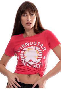 Camiseta Thais Gusmã£O Estampada Records Goiaba - Vermelho - Feminino - Algodã£O - Dafiti