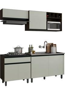 Cozinha Compacta 6 Portas 1 Gaveta Ibiza-Poliman - Amendoa / Off White