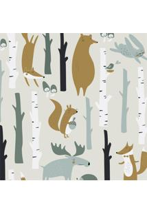 Papel De Parede Stickdecor Adesivo Infantil Animais Na Floresta 3Mt A 1,00Mt L