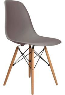 Cadeira Sem Braço Pp Base De Madeira Eiffel -Rivatti - Cinza