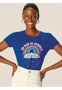 Blusa Azul Escuro Rainbow Em Viscose