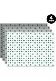 Jogo Americano Mdecore Estrelas 40X28Cm Colorido 4Pçs