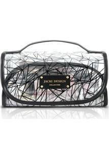 Necessaire Jack Design Rocambole Transparente - Feminino-Preto