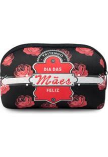 Necessaire Confort Em Neoprene Feliz Dia Das Mães - Unissex-Preto+Vermelho