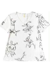 Blusa Decote V Com Estampa Floral Branco