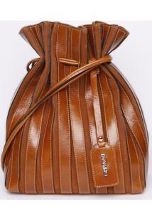 Bolsa Saco Com Pespontos - Marrom - 30X28X14Cm- Griffazzi