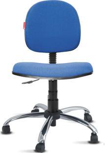 Cadeira Executiva Giratória Cromada Crepe Azul Médio