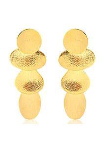 Brinco Toque De Joia Gotas Pequeno - Feminino-Dourado