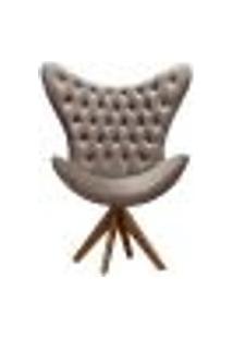 Poltrona Decorativa Egg Com Capitonê Pé Giratório Madeira Para Sala, Tv Estar, Escritório - Veludo Capuccino