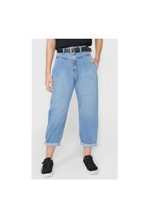 Calça Jeans Lança Perfume Slouchy Pespontos Azul