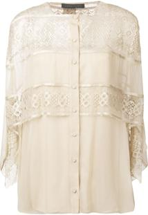 Alberta Ferretti Layered Lace Blouse - Marrom