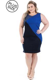 Vestido Plus Size - Confidencial Extra Jeans Regata Tricolor