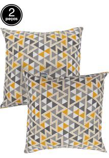 Kit 2 Capas De Almofadas Próxima 43X43 Summer Triangulo Amarelo E Gorgurão Liso Amarelo