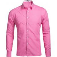 c528f8ae9c Camisa Masculina Slim Fit Com Detalhes Em Costura Manga Longa - Rosa