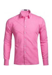 Camisa Masculina Slim Fit Com Detalhes Em Costura Manga Longa - Rosa