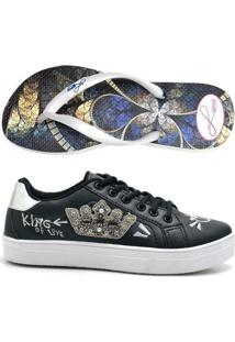 Kit Tênis Coroa + Chinelo Top Franca Shoes Feminino - Feminino-Preto