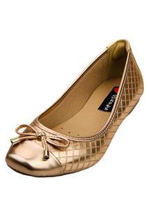 Sapatilha Bico Quadrado Love Shoes Confort Matelasse Laçinho Metalizado Cobre