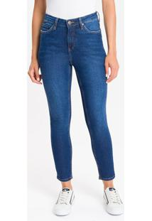 Calça Jeans Feminina Five Pockets Skinny Cintura Alta Azul Médio Calvin Klein - 34