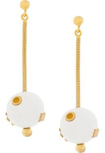 Marni Sphere-Drop Earrings - Branco