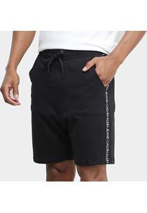 Bermuda Moletom Calvin Klein Logo Lateral Masculina - Masculino-Preto