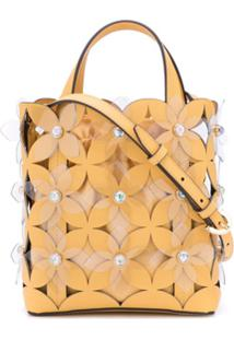 Zac Zac Posen Bolsa Tote Floral Bouquet Small North/South - Amarelo