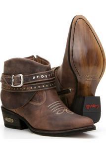 Bota Country Texana De Couro Capelli Boots Feminina - Feminino-Café