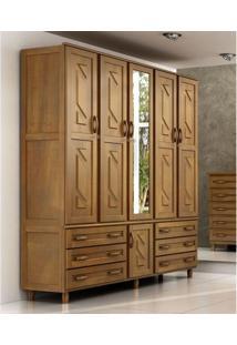 Guarda-Roupa Casal Cavazotto Paris Com 6 Portas 6 Gavetas E Espelho – Imbuia
