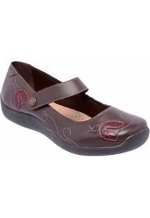 Sapatilha Conforto D&R Shoes Em Couro Feminina - Feminino-Café