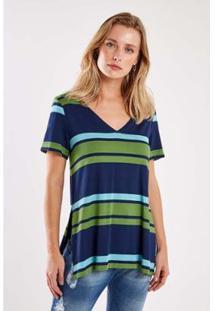 Blusa Malha Listra Tricolor Sacada Feminina - Feminino
