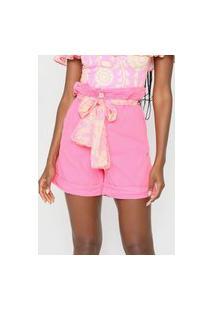 Bermuda Sarja Lança Perfume Reta Neon Pink