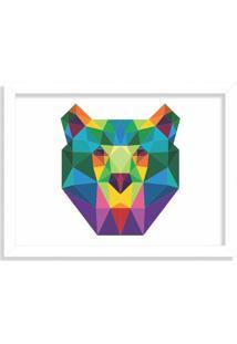 Quadro Decorativo Urso Abstrato Colorido Branco - Grande