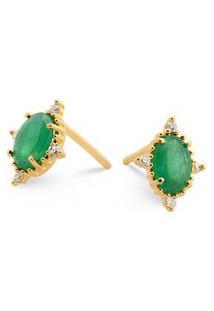 Brinco Ouro Amarelo Esmeraldas E Diamantes