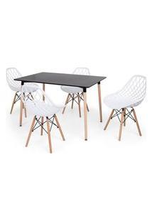 Conjunto Mesa Eiffel Preta 120X80 + 4 Cadeiras Vision - Branco