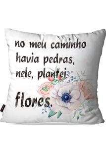 Capa De Almofada Pump Up Decorativa Avulsa Branco Frases Meu Caminho 45X45Cm