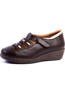 Sapato Anabela Doctor Shoes 188 Café - Kanui