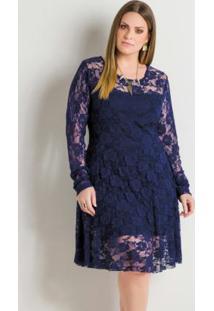 ebcab1937 Vestido Azul Marinho Renda feminino | Shoelover