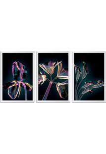 Quadro Oppen House 60X120Cm Flores Abstrato Transparentes Moldura Branca Estilo Raio-X Decorativo Interiores Mod:Oh0013