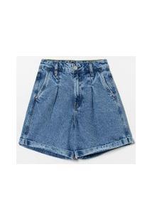 Short Jeans Baggy Com Pregas E Patch | Blue Steel | Azul | 44