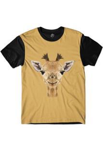 Camiseta Bsc Cara De Girafa Sublimada Masculina - Masculino-Amarelo
