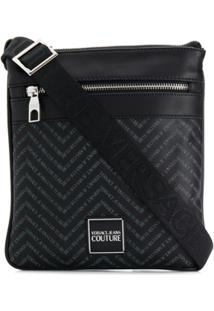 Versace Jeans Couture Bolsa Transversal Zig-Zag Com Logo - Preto