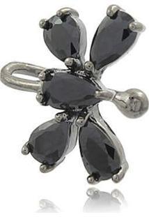 Brinco Viva Jolie Piercing Ônix Borboleta Ródio Negro