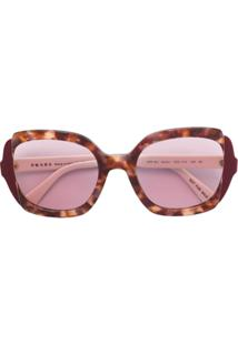 Prada Eyewear Óculos De Sol Oversized - Vermelho