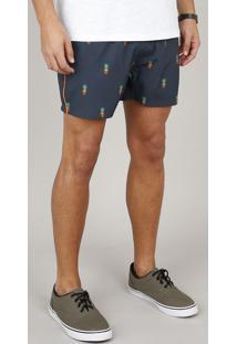 Short Masculino Estampado De Caveira Abacaxi Com Bolsos Chumbo