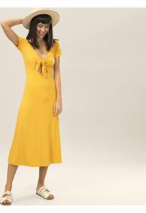 Vestido Mídi Amarração Amarelo Caramelo - Lez A Lez