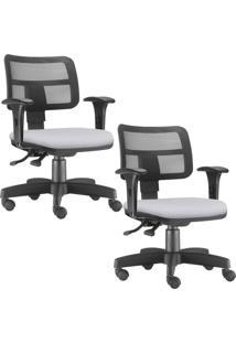 Kit 02 Cadeiras Giratórias Lyam Decor Zip Corino Branco